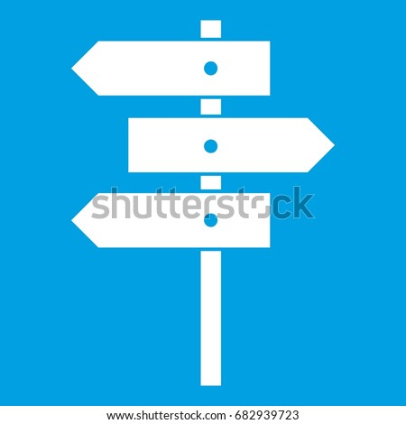 Direction signs icon white isolated on blue background vector illustration