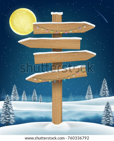 direction wood board sign on winter lake