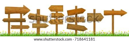 Direction Wooden Arrow Set Row Rustic Road Sign Design Element Web. Vector illustration