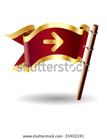 Directional arrow icon on royal vector flag button for use on websites, in print, or in promotional materials