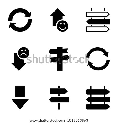 Directional icons. set of 9 editable filled directional icons such as direction   isolated, direction, arrow down, reload