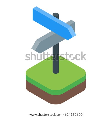 Directional sign isometric with arrows vector isolated