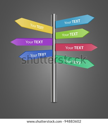Directional Signs for your text, easy editable-vector