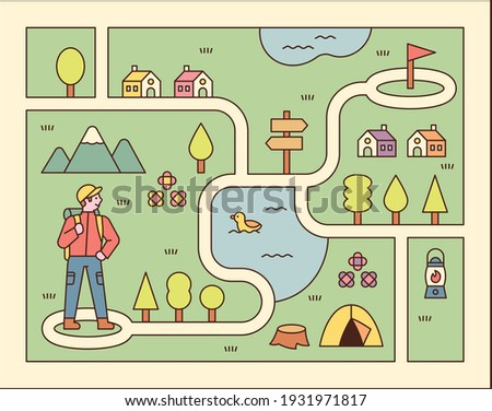 Directions game illustration. A man is standing on the map and looking for his target point. flat design style minimal vector illustration.
