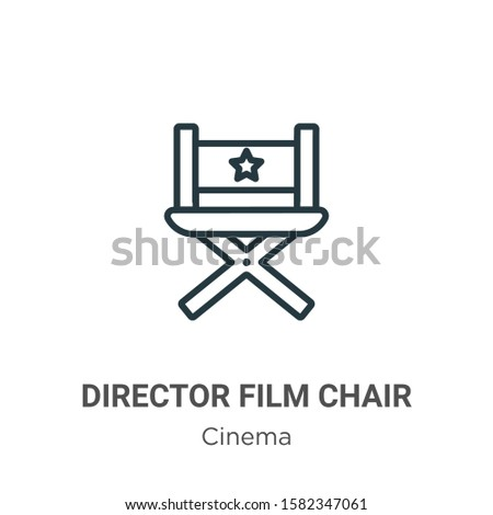 Director film chair outline vector icon. Thin line black director film chair icon, flat vector simple element illustration from editable cinema concept isolated on white background
