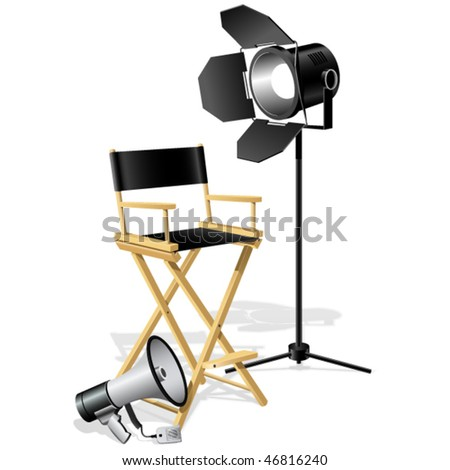 Director's workplace Chair,  Megaphone and searchlight