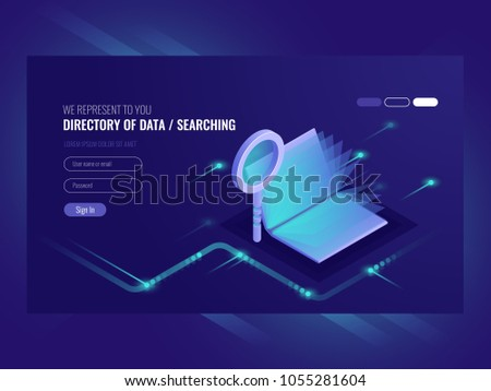 Directory of data, information serching result, book with magnifying glass, search engine optimization, information technologies isometric vector ultraviolet