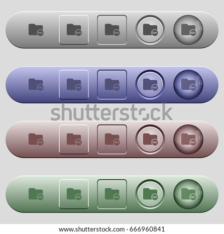 Directory permissions icons on rounded horizontal menu bars in different colors and button styles #666960841