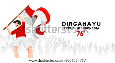 Dirgahayu Kemerdekaan Republik Indonesia means Happy Indonesian Independence Day Celebration. Young people celebration 76 years indonesia freedom with spirit and joy