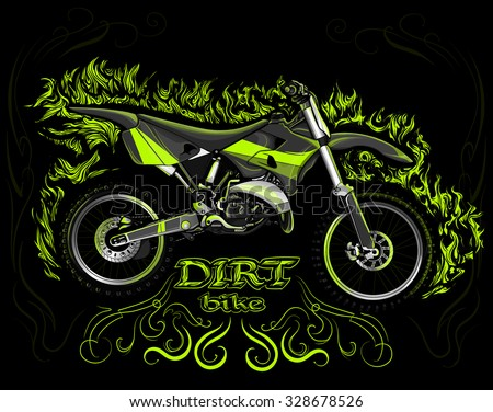 dirt bike on a black background