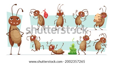 Dirt cockroach. Bad pests interior room bugs dirty insects hygiene exact vector funny characters illustrations collection
