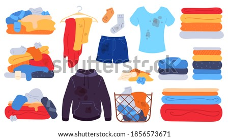 Dirty and clean clothes. Flat laundry basket, jeans, t-shirt and socks with stains. Dirty clothing piles, towels stack. Washing vector set. Illustration dirty clothing illustration pile