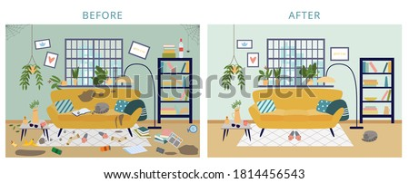 Dirty and clean room before and after cleanup, flat cartoon vector illustration. Background shows result of house cleaning and tidying for cleaning services. Foto d'archivio ©