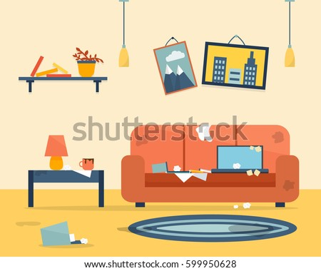 Shutterstock Dirty and clean room. Disorder in the interior. Apartment before and after cleaning. Flat style vector illustration.