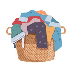 Dirty clothes. Apparel heap with stains in basket, different soiled smelly pile of fabric old shorts, cotton t-shirts and socks, laundry vector cartoon isolated on white background colorful concept