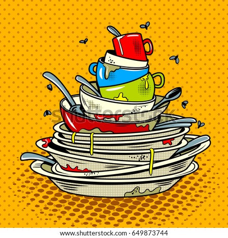 Dirty dishes comic book pop art retro style vector illustration