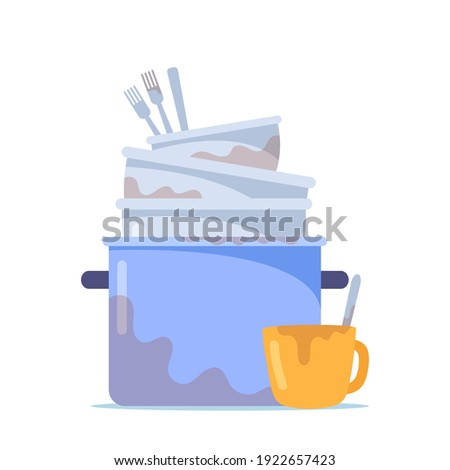 Dirty Dishes Pile, Stack of Cooking Pan, Bowls and Untidy Forks with Cup to Wash, Unhygienic Utensils, Crockery or Kitchenware with Spots Isolated on White Background. Cartoon Vector Illustration Foto d'archivio ©