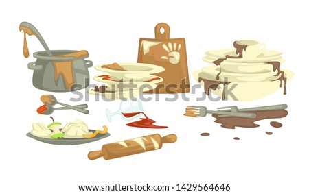 Dirty dishes plates and cups saucepan and food remains vector fat stains and cutting board spoons and forks wineglass and rolling pin kitchen spill drinks and sauce puddles ladle and cutlery.