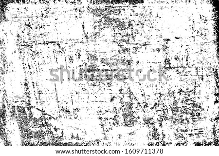 Dirty grunge background. Black and white gloomy texture. Worn old surface. Pattern of cracks, chips, scuffs, scratches. Pattern for backdrops and design creation