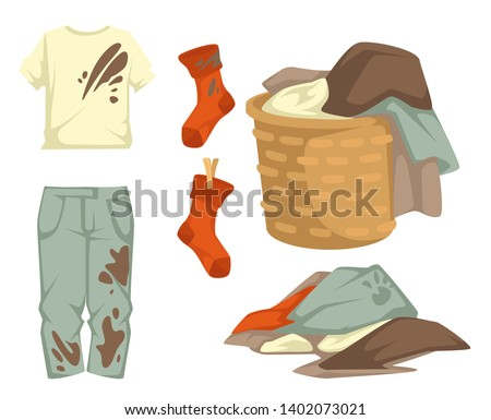 Dirty laundry mud stains on garments vector towels and clothing stockings and linen in wicker basket drying rope with pins laundromat cleanliness and hygiene t-shirt and jeans clothing pile or heap.
