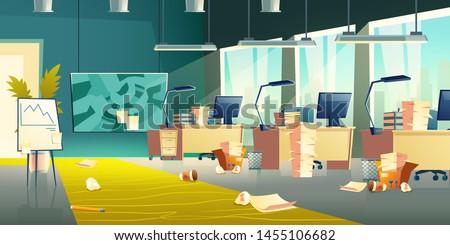 Dirty office interior, empty work place with scattered garbage, crumpled paper, plastic cups on floor, messy room with computers, document piles on desks, flip chart board. Cartoon vector illustration