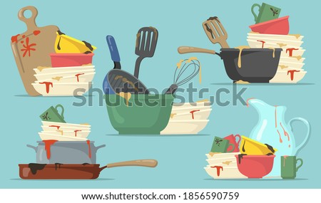 Dirty plates and cups flat set for web design. Cartoon kitchen empty dishes for washing isolated vector illustration collection. Household and kitchenware concept Сток-фото ©