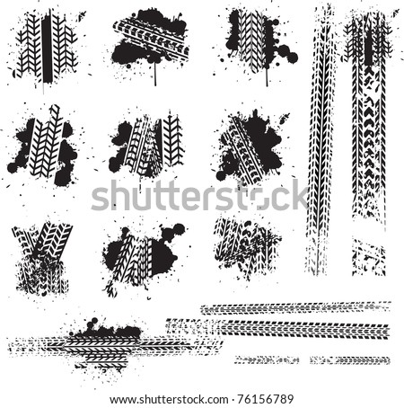 Dirty tire tracks and grunge ink paint splat - stock vector
