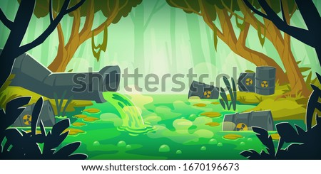 Dirty toxic swamp with wastewater pipe and barrels with radiation waste. Vector cartoon illustration of environment pollution, global ecology problem. Forest and marsh with garbage