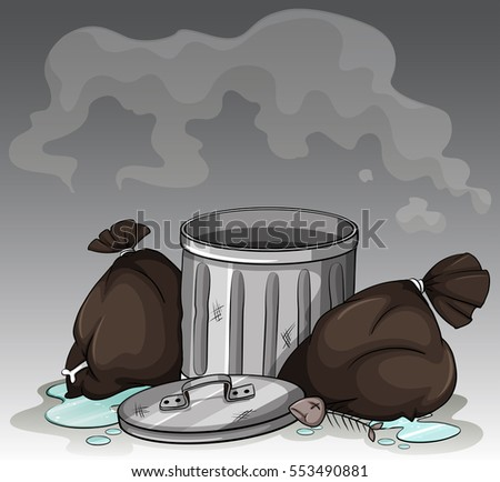 Dirty trashcan and bags illustration