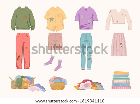 Dirty unwashed clothes set. Womens jacket with skirt green slime socks shorts tshirt with dog prints laundry basket filled with smelly clothes pile old socks stack clean linen. Housework vector.