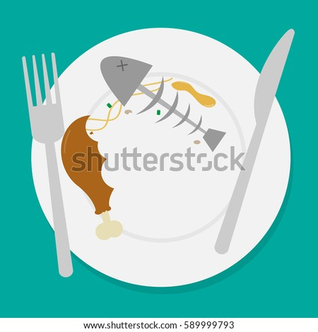 dirty waste food on plate with