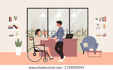Disability employment vector illustration. Cartoon flat happy young woman in wheelchair shaking hand with business partner or boss in office, job accessibility for disabled person concept background Photo stock ©