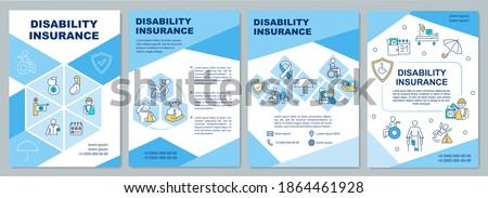 Disability insurance brochure template. Coverage monthly income. Flyer, booklet, leaflet print, cover design with linear icons. Vector layouts for magazines, annual reports, advertising posters Foto stock ©