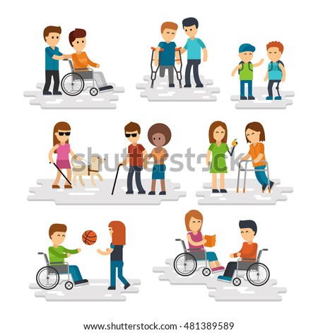 Disability person vector flat. Young disabled people and friends helping them, disabled man and woman in wheelchair, blind with stick and guide dog isolated on white background People with prosthesis