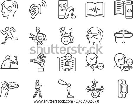 Disability with technology line icon set. Included the icons as assistive device, assistive technologies, adaptive technology, Disabled, cripple, blind, deaf, dumb and more.