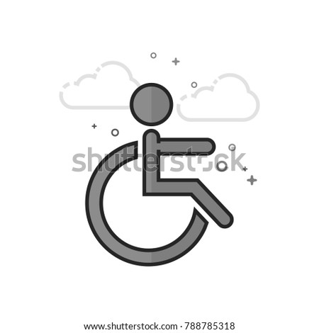 Disabled access icon in flat outlined grayscale style. Vector illustration.