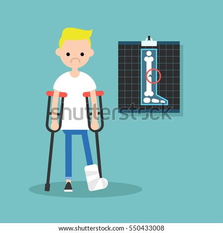 disabled blond boy on crutches