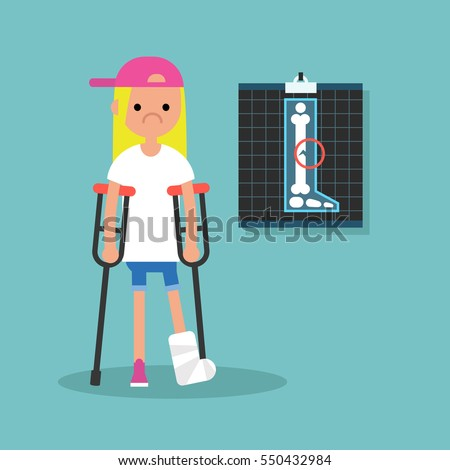 disabled blond girl on crutches