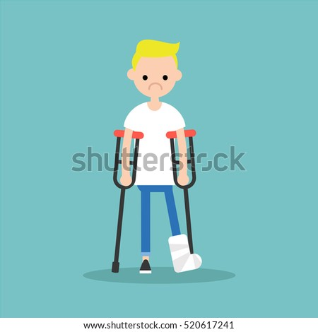 disabled blonde boy on crutches