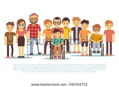 Disabled child, handicapped children, diverse students in wheelchair vector set.