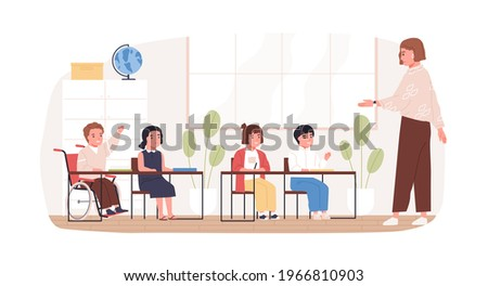 Disabled child in wheelchair studying in school. Concept of social inclusion of handicapped children into education. Boy in wheel chair in classroom. Colored flat vector illustration isolated on white Сток-фото ©