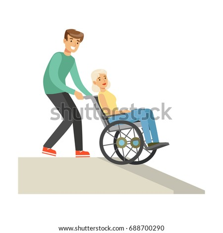 Disabled elderly woman in wheelchair, smiling volunteer man helping her, healthcare assistance and accessibility colorful vector Illustration