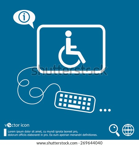 Disabled Handicap icon and flat design elements. Line icons for application development, web page coding and programming, creative process, social media, print.