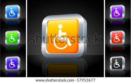 Disabled Icon on 3D Button with Metallic Rim Original Illustration