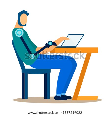 Disabled Male Freelancer Flat Vector Illustration. Social Inclusion of Handicapped Individuals. Programmer, Designer, Writer at Work Isolated Character. Boy with Bionic Hand Prosthesis Works at Laptop