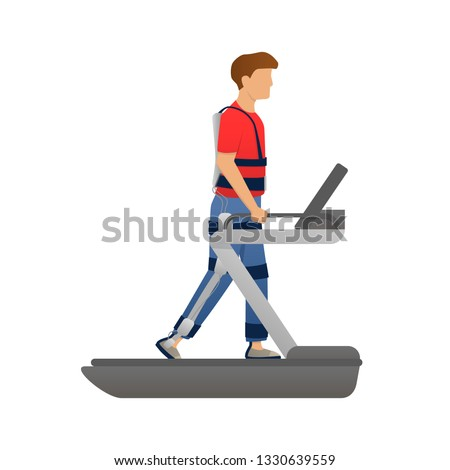 Disabled man walking with medical exoskeleton on treadmill. Medicine of the future, bionics technology. Vector illustration