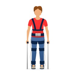 Disabled man wearing medical exoskeleton. Medicine of the future, bionics technology. Vector illustration