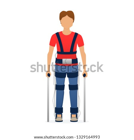 Disabled man wearing medical exoskeleton. Medicine of the future, bionics technology. Vector illustration