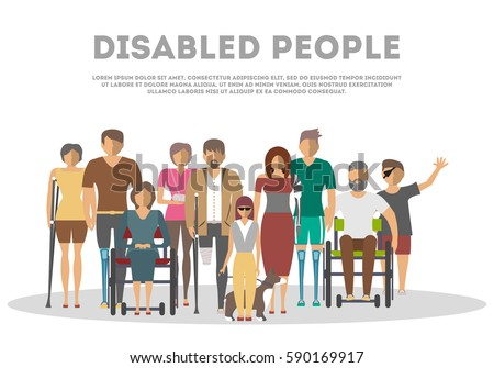 Disabled people banner in flat style vector illustration. Invalid persons, blind woman, broken arm, people on wheelchair, prosthetic arms and legs. Healthcare assistance and accessibility concept.