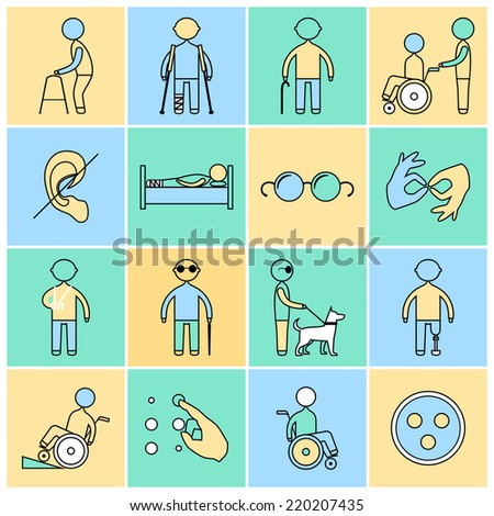 Disabled people flat line icons set isolated vector illustration